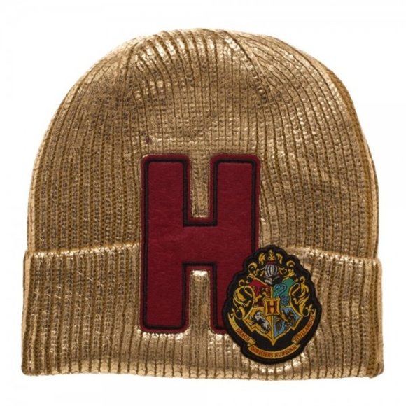 b6c3ad88436 Harry Potter Hogwarts Metallic Gold Beanie Hat